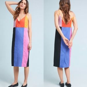 MARA HOFFMAN Georgia Colorblock Rainbow Slip Dress